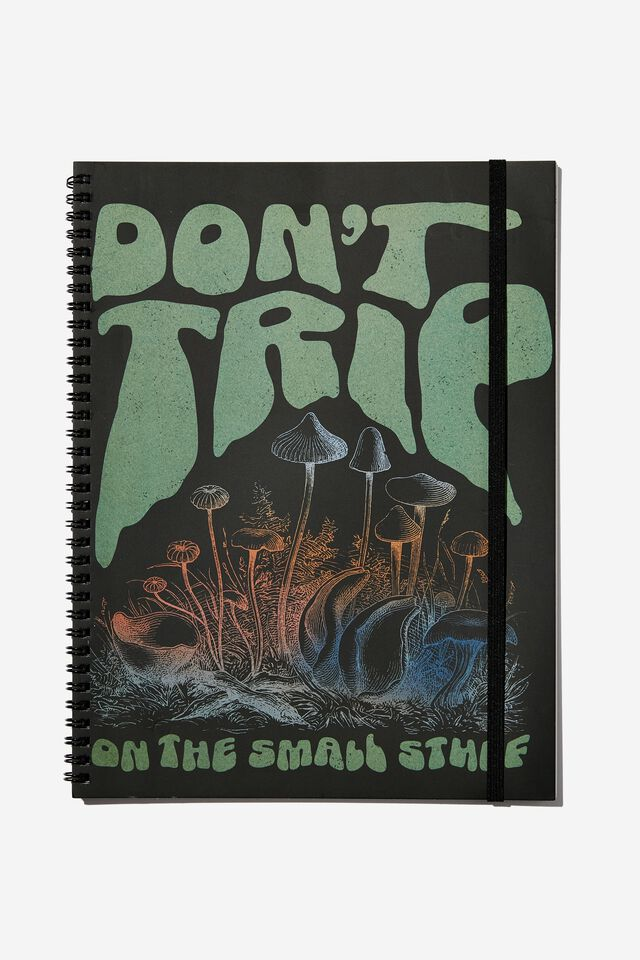 A4 Spinout Notebook Recycled, DON'T TRIP ON THE SMALL STUFF MUSHROOMS!