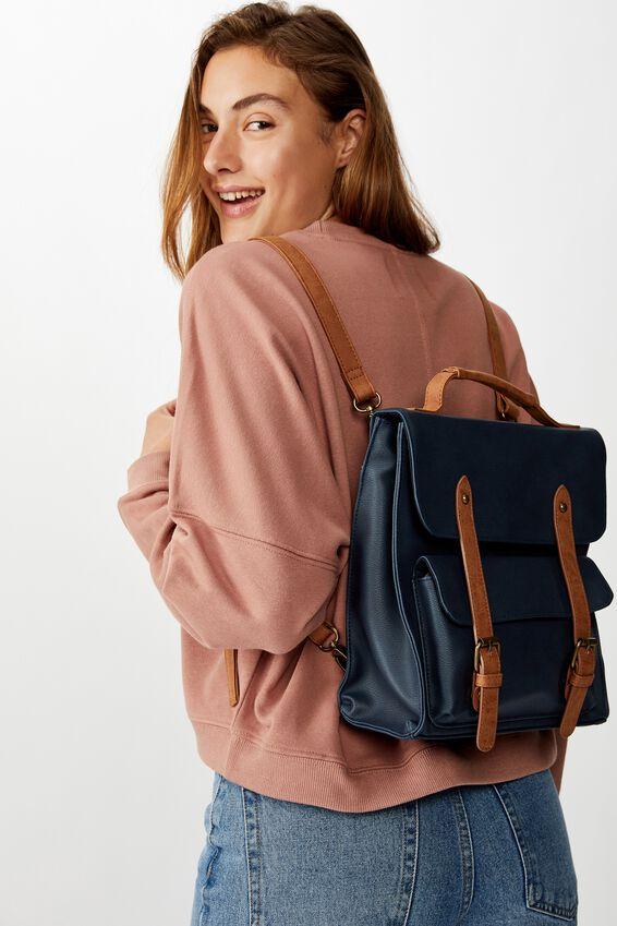 Buffalo Satchel Backpack, NAVY W/ MID TAN