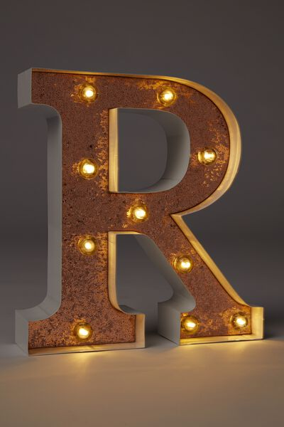 Small Marquee Letter Lights 23cm, WHITE WITH ROSE GOLD GLITTER R