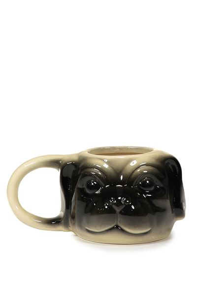 Novelty Shaped Mug, BROWN PUG HEAD
