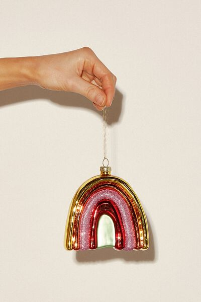 Glass Christmas Ornament, RAINBOW