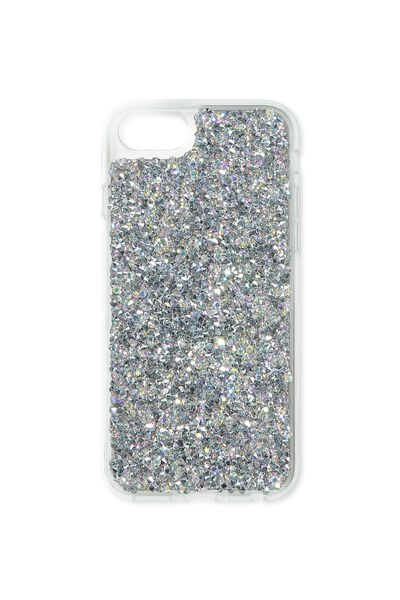 Textured Universal Phone Cover 6, 7, 8, SILVER GLITTER