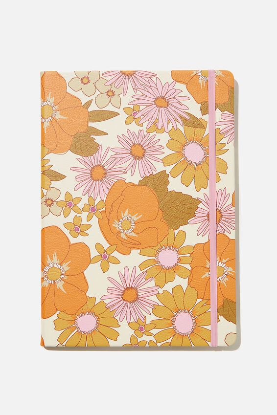 A4 Buffalo Journal, PR STEVIE FLORAL PINK ORANGE