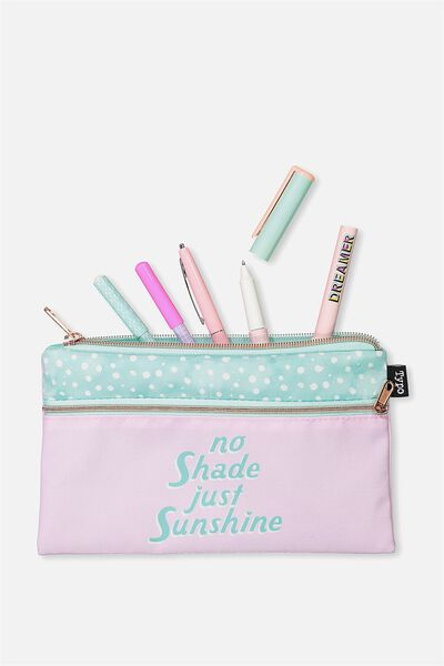 Archer Pencil Case, POLKA NO SHADE