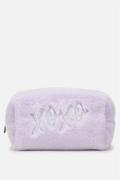 Made Up Cosmetic Bag, LILAC FAUX FUR