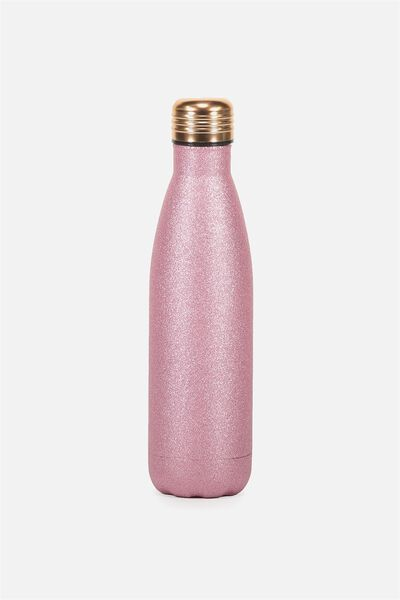 Metal Drink Bottle, PINK GLITTER