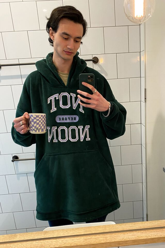 Slounge Around Oversized Hoodie, NOT BEFORE NOON