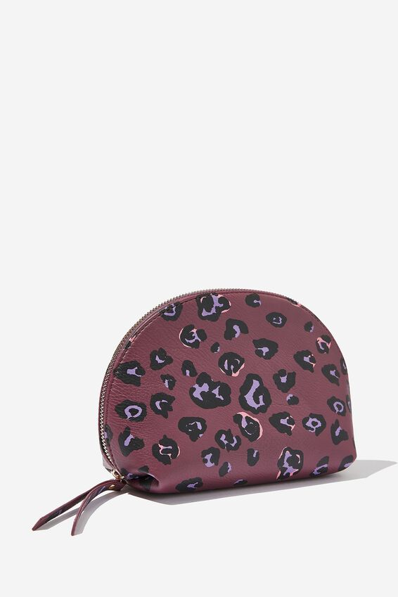 Shell Cosmetic Case, BURGUNDY LEOPARD