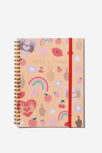 Small Spinout Notebook - V, PINK HANDS UP NOTE THINGS