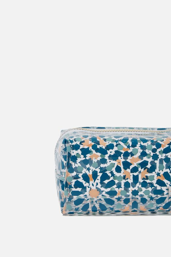 Made Up Cosmetic Bag, CLEAR TILE PRINT