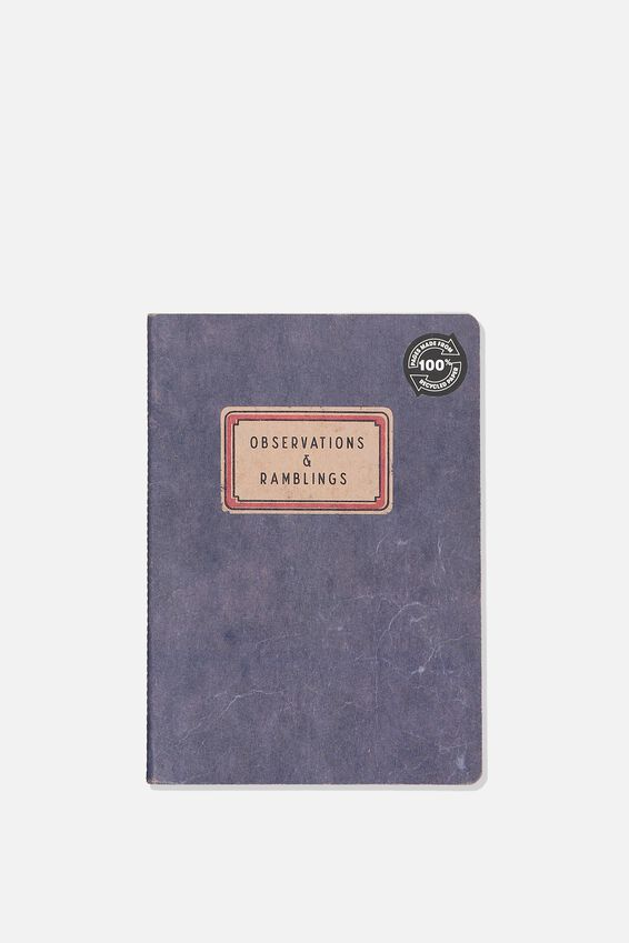 """A5 Recycled Notebook (8.27"""" x 5.83""""), OBSERVATIONS AND RAMBLINGS"""