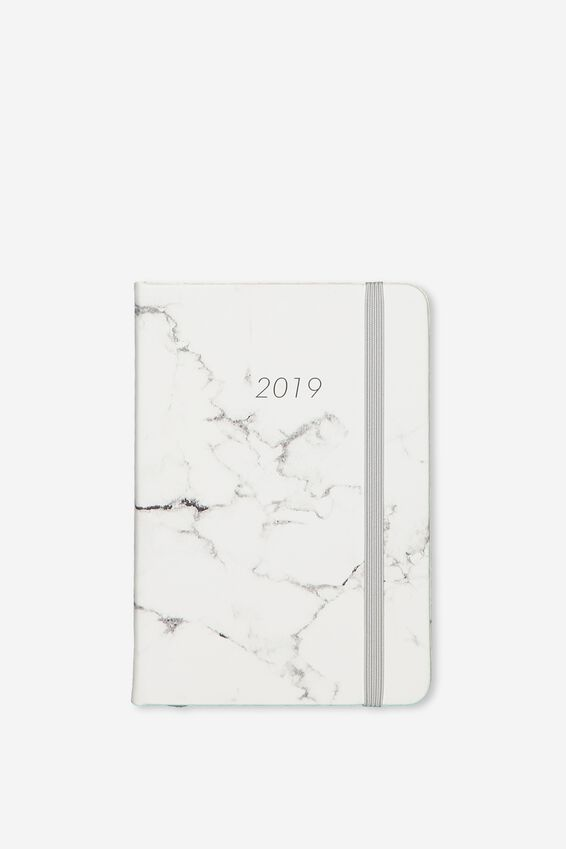 2019 A6 Weekly Buffalo Diary, GREY MARBLE