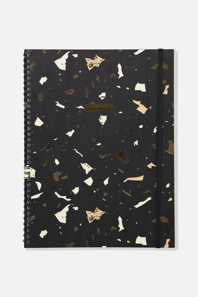 A4 Spinout Notebook - 120 Pages, BLACK TERRAZZO