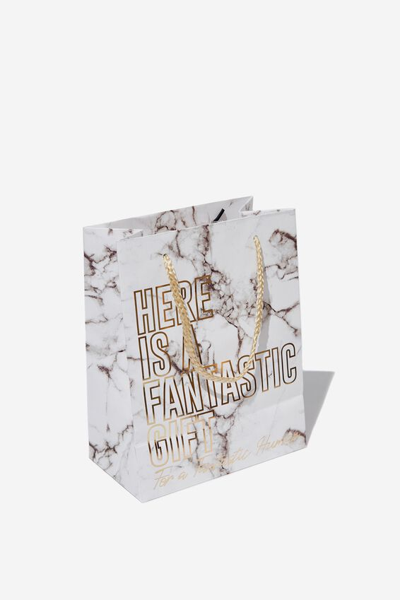 Small Stuff It Gift Bag, WHITE MARBLE FANTASTIC HUMAN