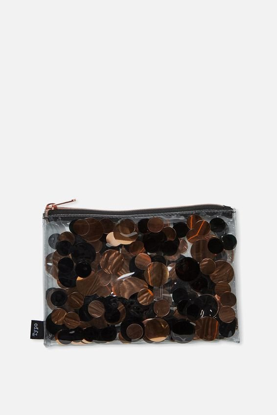 Confetti Pencil Case, ROSE GOLD