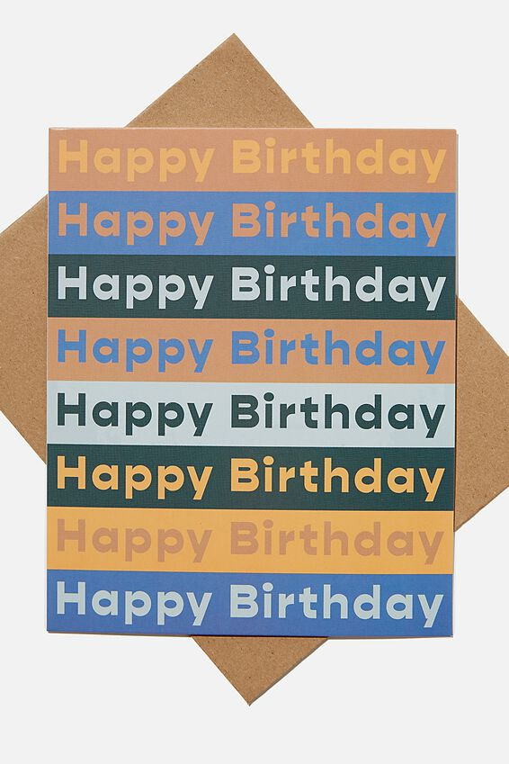 Nice Birthday Card, BIRTHDAY MANGO DUSTY BLUE REPEAT