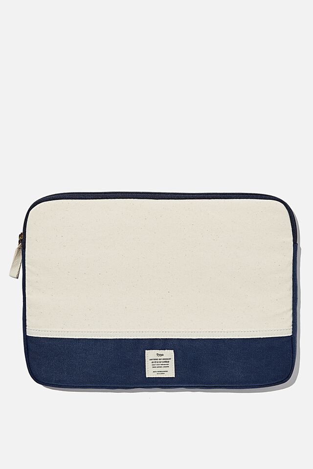 Take Me Away 13 Inch Laptop Case, NATURAL AND NAVY