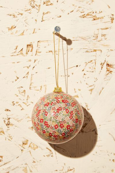 Christmas Bauble, DITSY FLORAL BLUE RED