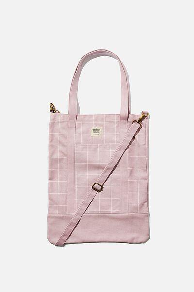 Book Tote Bag, HEATHER GRID