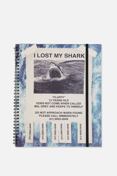 College Ruled Spinout Notebook V, I LOST MY SHARK