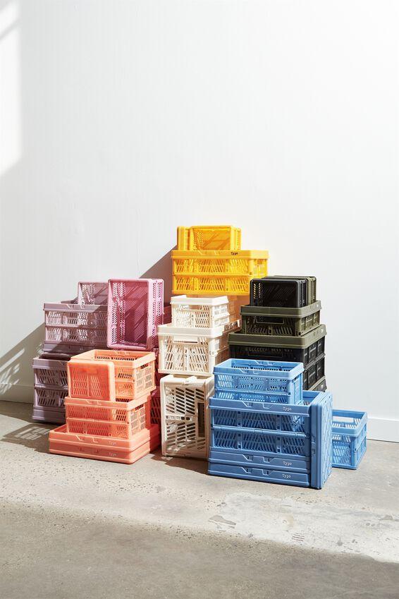 Midi Foldable Storage Crate, CORNFLOWER