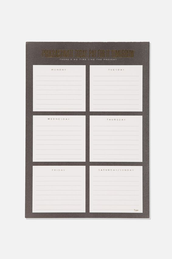 A4 Plan Ahead Planner, PROCRASTINATE TODAY BLACK
