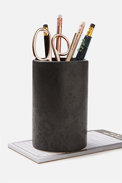 Pen Holder, BLACK FLORAL LACE