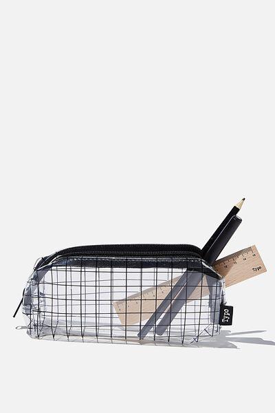 Bailey Pencil Case, PLAIN GRID CLEAR