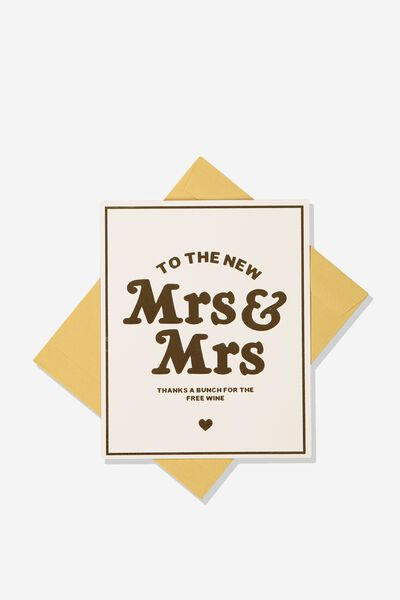 Wedding Card, THE NEW MRS AND MRS!