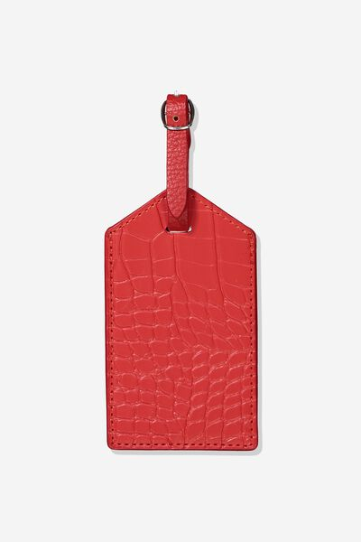 Luggage Tag, RED CROC EMBOSSED
