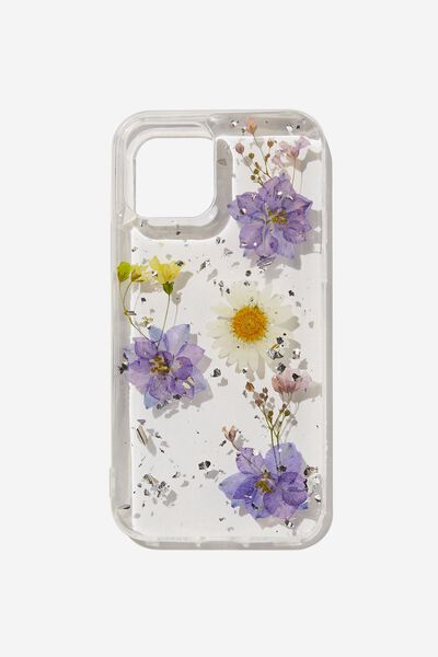 Protective Phone Case Iphone 12, 12 Pro, PURPLE & DAISY PRESSED FLOWER