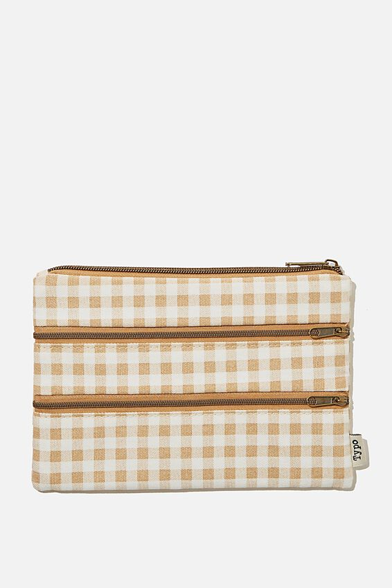Double Archer Pencil Case, GINGHAM DRIFTWOOD