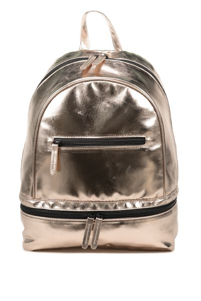 Double Zipper Backpack, ROSE GOLD