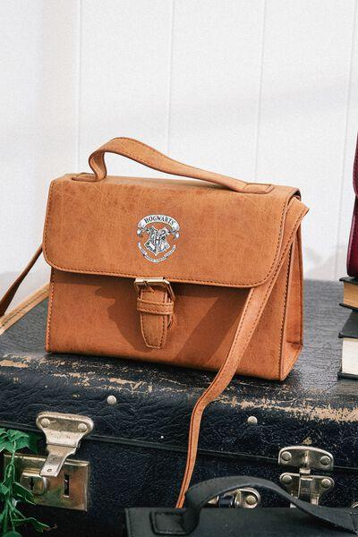 Mini Nuevo Satchel Bag, LCN WB MID TAN HARRY POTTER EMBLEM
