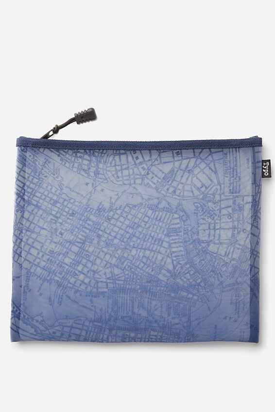 Mesh Travel Case, BLUE NY MAP