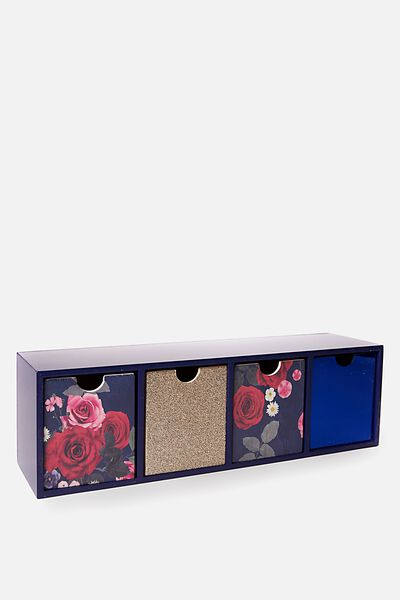 Quick Desk Drawer Storage, NAVY FLORAL