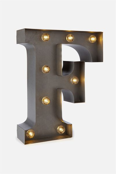 Small Letter Marquee Light, SILVER F