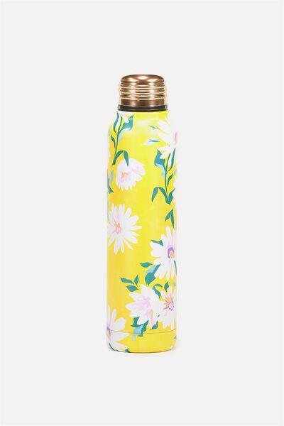 Small Metal Drink Bottle, YELLOW DAISY