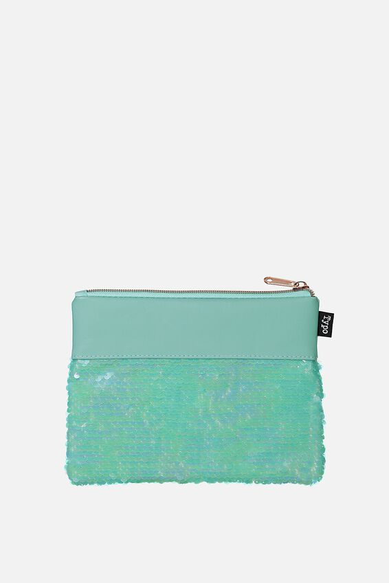 Sequin Pencil Case, AQUA BLUE
