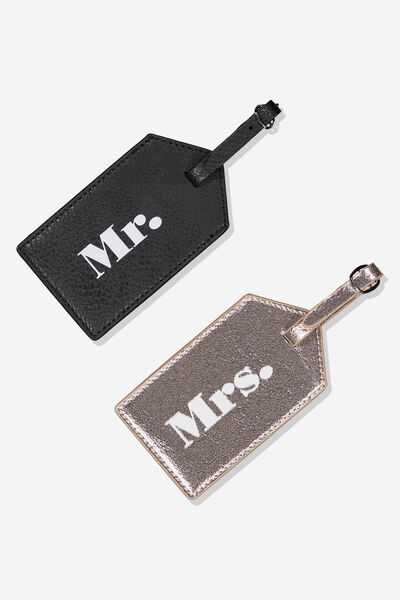 2Pce Luggage Tag Set, MR & MRS