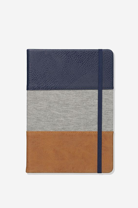 A5 Buffalo Journal Grid Internal, NAVY GREY TAN