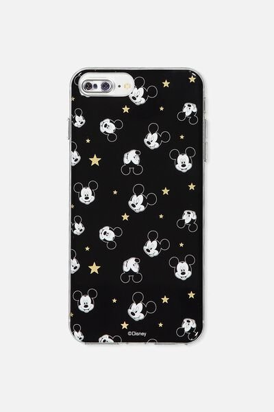 Transparent Phone Cover 6,7,8 Plus, LCN BLACK MICKEY YARDAGE
