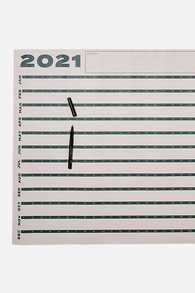 2021 A1 Year Planner Roll, CREAM GREEN