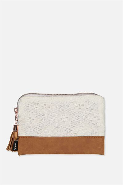 Luxe Pencil Case, WHITE LACE TAN