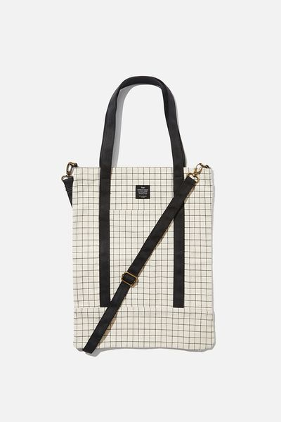 Book Tote Bag, PLAIN GRID
