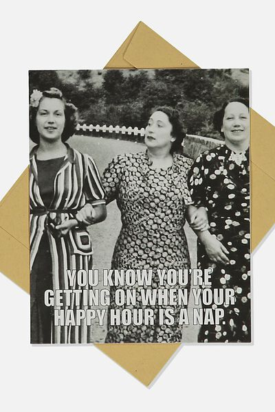 Funny Birthday Card, HAPPY HOUR IS A NAP RETRO