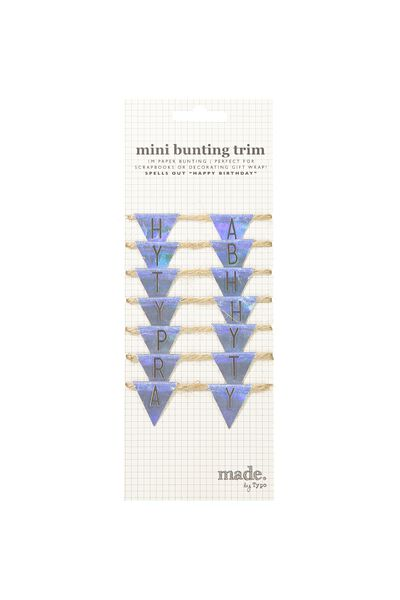 Mini Bunting Trim, HOLOGRAPHIC BIRTHDAY
