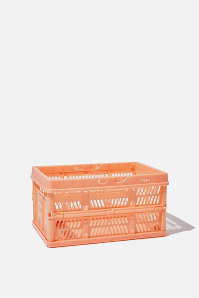 Small Foldable Storage Crate, PEACH