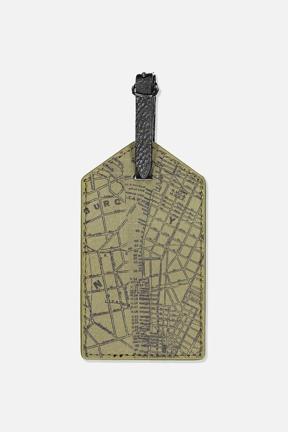 Luggage Tag, KHAKI MAP