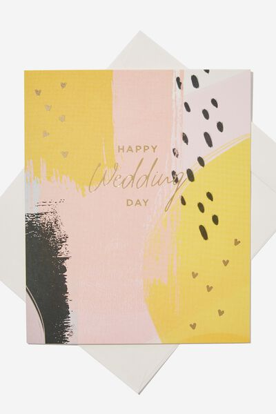 Wedding Card, PINK YELLOW STROKES